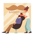 man with beard in barbershop and woman barber vector image vector image