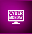 monitor with cyber monday on screen icon isolated vector image vector image