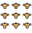 Monkey Face Expressions Set vector image