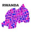 mosaic rwanda map of square elements vector image vector image