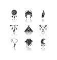 native american indian accessories drop shadow vector image