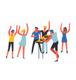 party people listening to dj music and dancing vector image