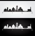 pisa skyline and landmarks silhouette vector image vector image