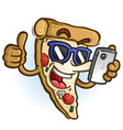 pizza cartoon in sunglasses using a smart phone vector image vector image