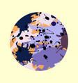 purple lilac orange brown ink splashes round vector image vector image
