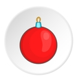 Red ball for the Christmas tree icon cartoon style vector image vector image