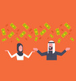 rich arab couple business man and woman throwing vector image vector image