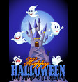 scene with halloween ghost on castle background vector image vector image