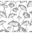 seamless pattern of wildflowers silhouettes vector image vector image