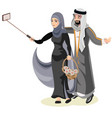 selfie happy muslim arabic couple vector image vector image