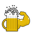 strong beer mug with big muscles powerful alcohol vector image vector image