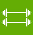 two barbells icon green vector image vector image