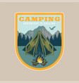 vintage badge with tent outdoor vector image vector image