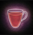 vintage glow signboard with tea cup vector image