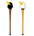 Walking stick with hawk head Staff decorated head vector image vector image