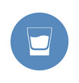 white glass with whiskey placed in blue circle vector image vector image