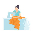 woman tailor sewing using sewing machine craft vector image vector image