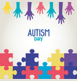 world autism day and hands with puzzle pieces vector image vector image