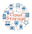 blue round cloud storage concept vector image