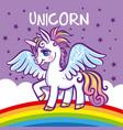 cute unicorn stars rainbow greeting card vector image