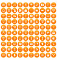100 cyber security icons set orange vector image vector image