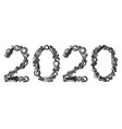 2020 hand tools number happy new year vector image