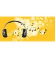 a headset and musical notes vector image