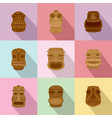 african mask icons set flat style vector image
