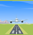 airplane over the runway vector image vector image