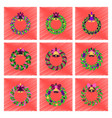 assembly flat shading style christmas wreath vector image vector image