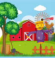 background scene with scarecrow and chicken vector image vector image