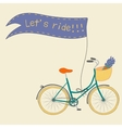Beautiful poster with cute hand drawn city bike vector image vector image