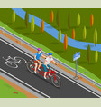 bicycle tandem trip isometric composition vector image vector image