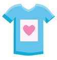 blue sleeveless shirt with heart color on white vector image