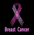 breast cancer awareness pink ribbon made of dots