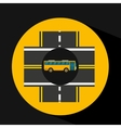 bus transport public intersections road vector image