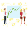 business man standing pointing to diagram chart on vector image vector image