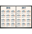 Calendar for 2016 and 2017 Week Starts Monday vector image vector image