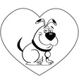 Cartoon dog with a heart background vector image
