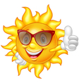 Cartoon sun giving thumb up vector image vector image