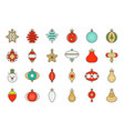 christmas ball ornaments icon set 1 flat design vector image vector image