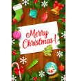 christmas gifts xmas bell balls and sock frame vector image vector image