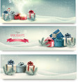 Christmas winter banners with presents vector image