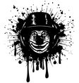 clown in hat on grunge splash vector image