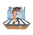 couple woman and man cartoon design vector image