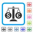 currency balance framed icon vector image vector image