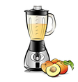 drawing color kitchen blender with peach juice vector image vector image