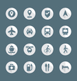 flat style various map navigation icons set vector image