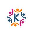 friendship teamwork parenting letter k vector image vector image