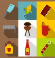 frying meat icon set flat style vector image vector image